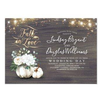 Small Fall In Love White Pumpkin Rustic Fall Wedding Invitation Front View