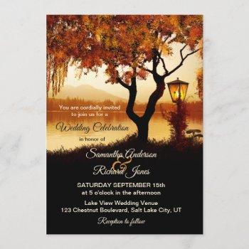 fall lake view tree wedding invitation