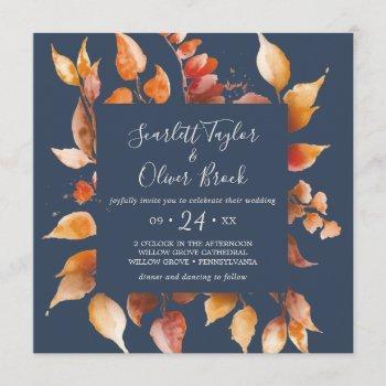 fall leaves | navy blue & burgundy square wedding invitation