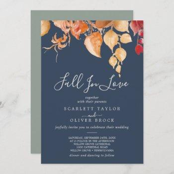 fall leaves | navy blue fall in love wedding invitation