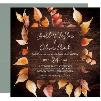 fall leaves | rustic brown wood square wedding invitation
