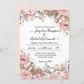 fall muted blush pink watercolor floral rose gold invitation