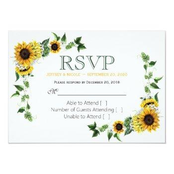 fall sunflower floral country barn wedding rsvp invitation