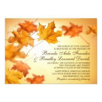 fall wedding invitations with falling leaves