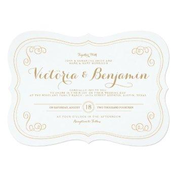 fancy affair wedding invitation - gold & white