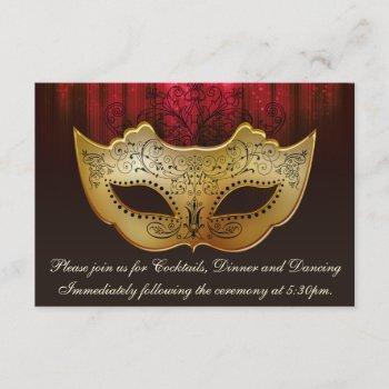 fancy flourish gold plum masquerade reception card