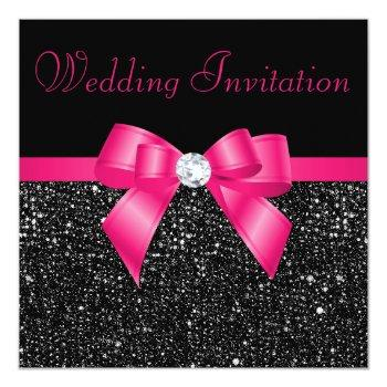 faux black sequins hot pink bow wedding invitation