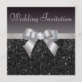 faux black sequins, silver bow & diamond wedding invitation