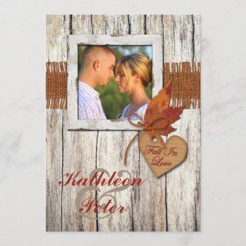 faux burlap, wood, leaves, heart photo wedding invitation