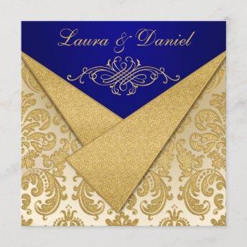 faux flaps blue, gold damask reception invite