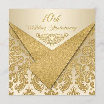 faux flaps damask 10th anniversary invitation