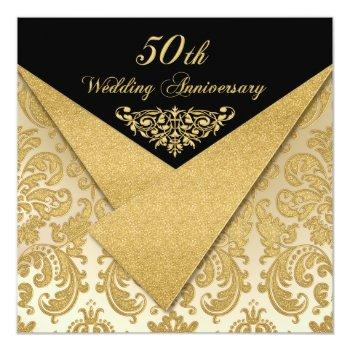 faux flaps damask 50th anniversary invitation 2
