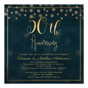 faux gold calligraphy 50th anniversary invitation