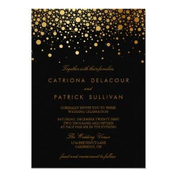 faux gold foil confetti black wedding invitation