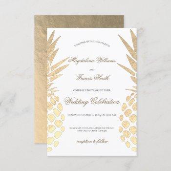 faux gold foil pineapples elegant wedding invitation