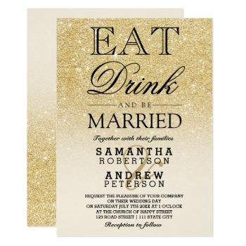 faux gold glitter ivory ombre eat drink wedding invitation