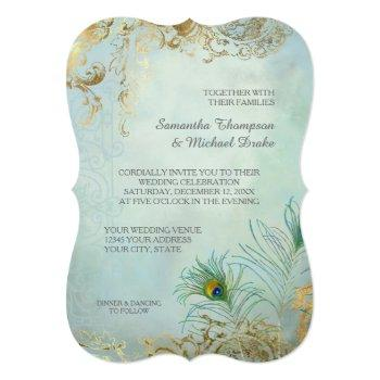 faux gold leaf peacock feathers elegant wedding invitation