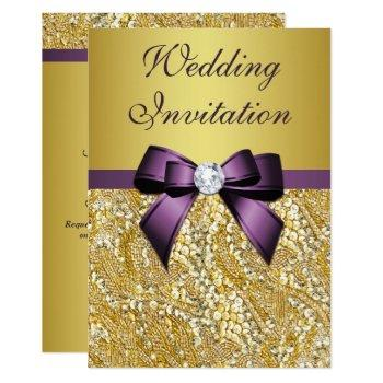 faux gold sequins diamonds purple bow wedding invitation