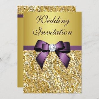 faux gold sequins diamonds purple bow wedding invitation
