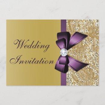 faux gold sequins purple bow wedding invitation