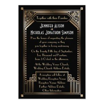 faux gold shaded gatsby art deco wedding invitation