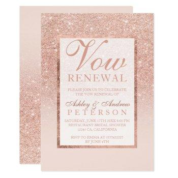 faux rose gold glitter elegant chic vow renewal invitation