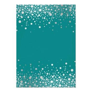 Small Faux Silver Foil Confetti Dots Teal Wedding Invitation Back View