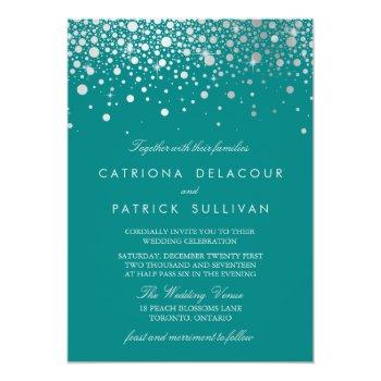 faux silver foil confetti dots teal wedding invitation