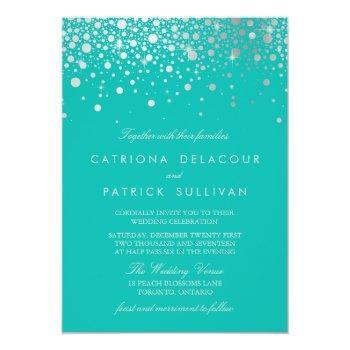 faux silver foil confetti dots turquoise wedding invitation