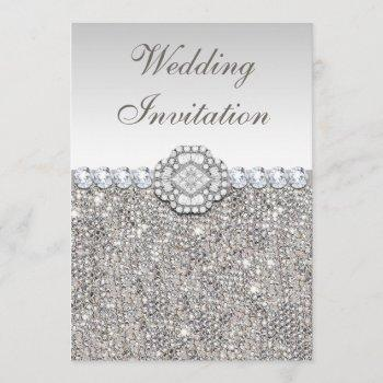 faux silver sequins and diamond images wedding invitation