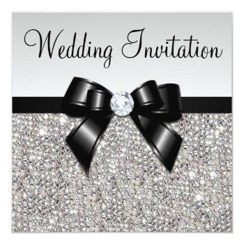 faux silver sequins diamonds black bow wedding invitation