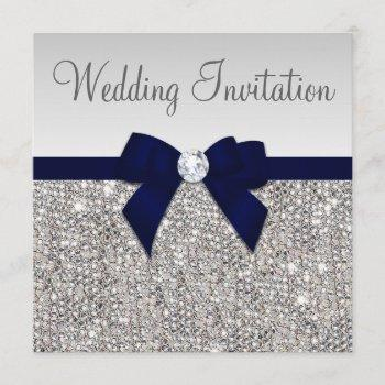 faux silver sequins diamonds dark navy bow wedding invitation