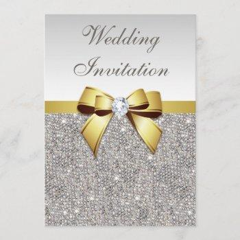 faux silver sequins diamonds gold bow wedding invitation