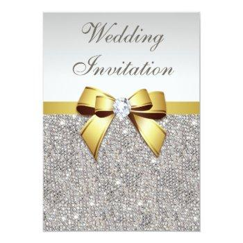 faux silver sequins diamonds gold bow wedding invitation
