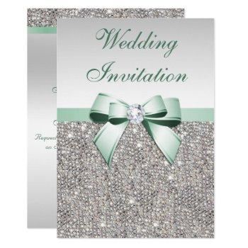 faux silver sequins diamonds mint bow wedding invitation