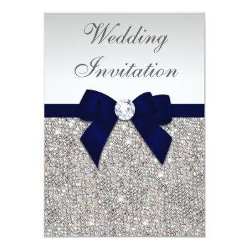 Small Faux Silver Sequins Diamonds Navy Bow Wedding Invitation Front View
