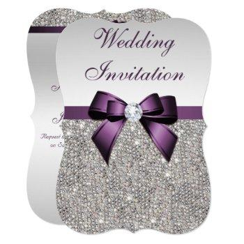 faux silver sequins diamonds purple bow wedding invitation
