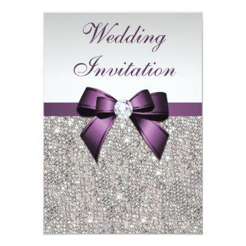Small Faux Silver Sequins Diamonds Purple Bow Wedding Invitation Front View