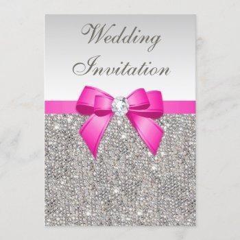 faux silver sequins diamonds purple bow wedding invitation