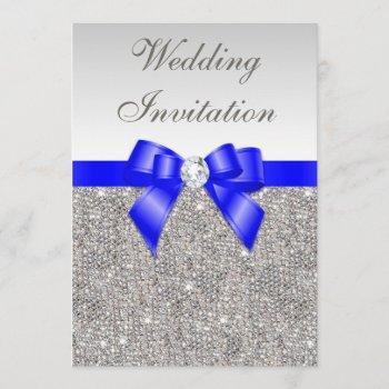 faux silver sequins diamonds royal blue wedding invitation