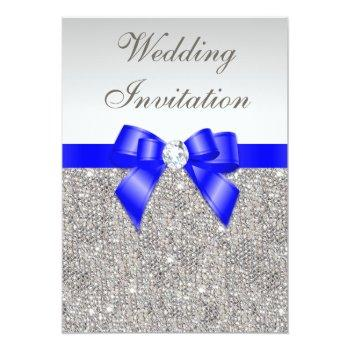 faux silver sequins diamonds royal blue wedding invitation