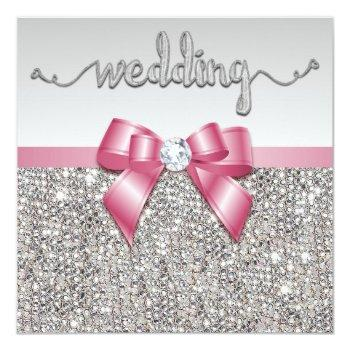 faux silver sequins pink bow wedding invitation