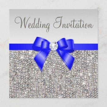 faux silver sequins royal blue bow wedding invitation