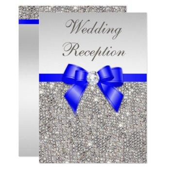 faux silver sequins royal blue wedding reception invitation