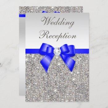 faux silver sequins royal blue wedding reception invitation