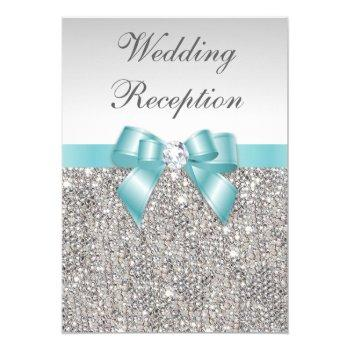 faux silver sequins teal bow wedding reception invitation