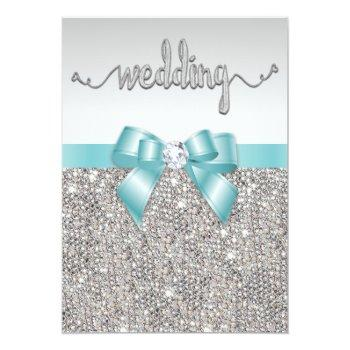 faux silver sequins teal bow wedding typography invitation