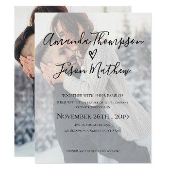 faux vellum effect | 2 sided photo | wedding invitation