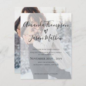 faux vellum effect | 2 sided photo | wedding invitation