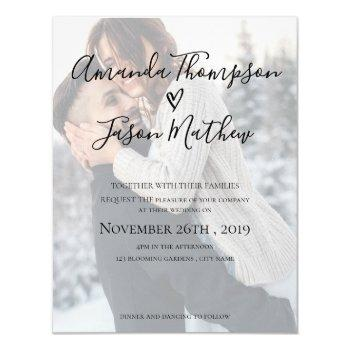 faux vellum effect photo wedding invitation